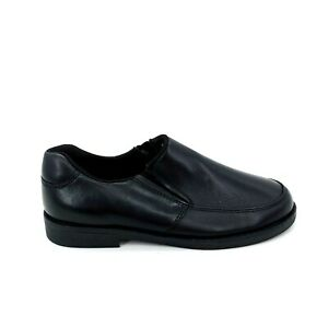 Lands End Boys Slip On Loafer Cushioned Insole Black Leather Sz 1 M
