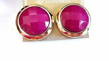 CLIP-ON EARRINGS CIRCLE CLIP 1.25 INCH GOLD RIMMED CLIP EARRINGS ASSORTED COLORS