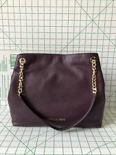 Michael Kors Jet Set Large Chain Shoulder Tote Pebble Leather Bag Damson Plum