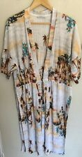 ZARA size M Or 12 Palm Print Long Kimono Tie Front Jacket Beach Cover Up