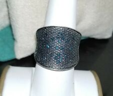 Ross Simons Sterling silver pave Blue Diamond wide big bold concave ring SJ
