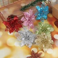 6PCs Artificial Christmas Flowers Glitter Flowers Merry Christmas Tree Decor_UK