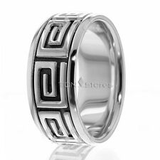 14K Solid Gold Mens Wedding Bands 10mm Wide White Black Mens Wedding Band Ring