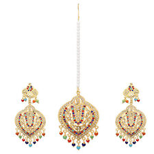 Jwellmart Indian Wedding Gold Plated Multicolor CZ Jadau Style Earring Tika Set