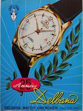vintage 1954 color print ad DELBANA Swiss watch watchmaking MID CENTURY ART