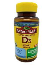 Nature Made Extra Strength Vitamin D3 5000 IU 125 mcg Softgels 180 Ct. Exp 04/22