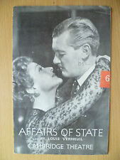 CAMBRIDGE THEATRE PROGRAMME 1952- AFFAIRS OF STATE by Louis Verneuil