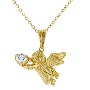 """Gold Plated Clear CZ Guardian Angel Pendant Necklace for Little Girls 16"""""""