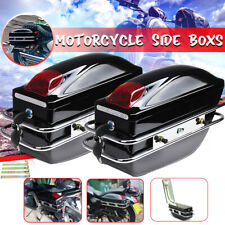 Universal Side Pannier Boxes With Light Motorcycle Bike Chopper Cruiser Tourer