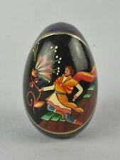 USSR Russian Fedoskino Lacquer Egg on Stand.