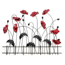 Metal Wall Art Decor Picture - Red Poppies with Leaves behind Fence Poppy Flower