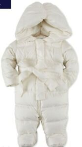 New Ralph Lauren white one-piece snowsuit Bunting quilted down baby girl 3M $165