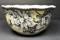 222 Fifth Adelaide Yellow Flower & Bird Cereal Soup Bowl Dish