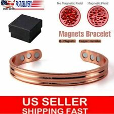 Copper Magnetic Bracelet Arthritis Pain Energy MEN WOMEN ADJUSTABLE CUFF Bangle