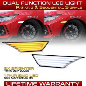 """""""SWITCHBACK WHITE&AMBER"""" For 16-20 Honda Civic Chrome Side Marker Light Lamp SET"""