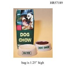 Small Bag of Dog Chow & Bowls 1:12 Scale Dollhouse Miniature Pet