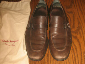 Mens Salvatore Ferragamo brown leather slip on dress shoes 11 D loafer buckle