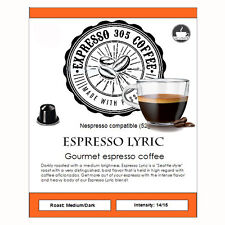 100 Nespresso capsules pods compatible FRESHLY ROASTED gourmet Coffee LYRIC