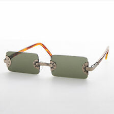 Rimless Rectangle Vintage BADBOY Low Profile Sunglasses Olive/Bronze/Brown-Rebel