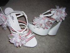 "WILD ROSE ""Roma05"" Floral Multi-Strap Platform Slide High Heels Women's Sz 9 NEW"