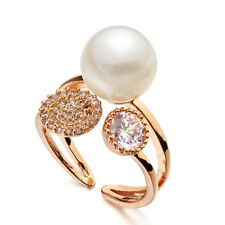 18k Rose Gold Filled Cute White Pearl Party Ring Size 7 R44