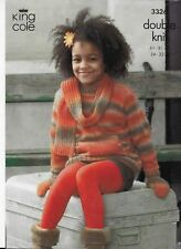 """KING COLE KNITTING PATTERN GIRLS & BOYS JACKET SWEATER SCARF AND MITTENS 24"""" -32"""