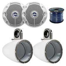 "2X Kicker Marine Tower Enclosure for 6.5-Inch Drivers, 2x JBL 6"" Speakers,  Wire"