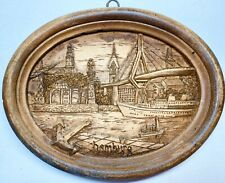 "Wood Hand Carved Souvenir Wall Plate Plaque Hamburg Germany Oval 5.5"" x 4.25"""
