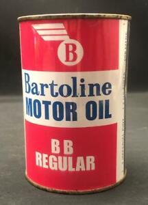 BARTOLINE BB REGULAR MOTOR OIL CAN PINT SEALED NEW OLD STOCK 30 GRADE