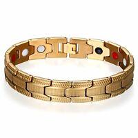 Herren Edelstahl Gold Tone Magnet Magnete Armreif Armband Free Link Removal Kit