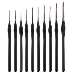10Pcs Fine Pointed Paintbrush Set Assorted Size Shape for Nail Art Painting
