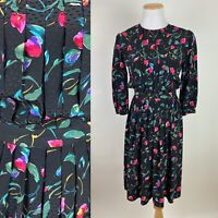 VTG 80s 90s MAGGY LONDON Jeannene Booher Black Silk Dress XS Pink Floral Print