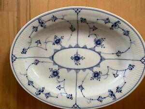 """Antique Royal Copenhagen Blue Fluted Plain Platter 13.5"""" x 10.5"""" 1920's"""