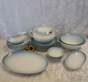 Seltmann Weiden Porzellan Speiseservice Speisegeschirr 23-tlg. weiß-blau #979-1