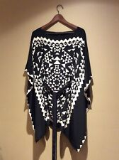 bcbg max 100% silk Aztec poncho style top size XS/S