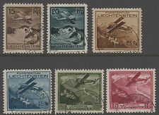Liechtenstein 1930 conjunto de aire utilizado muy fino con Cds cancela SG 110-115