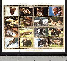 Wild Animals miniature sheet of 16 stamps CTO tiger orangutan panda beaver