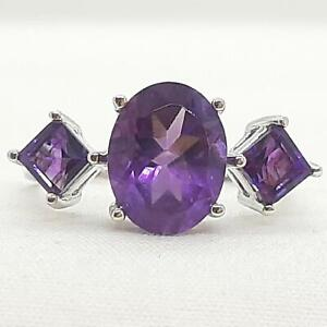 World Class 3.90ctw Amethyst Oval & Emerald Cut 925 Sterling Silver Ring Size 8