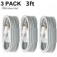 3-PACK 3FT USB Data Charger Cables Cords For Apple iPhone 5 S 6 7 8 X Plus
