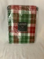 """Lauren (Ralph) Red/Green/White Plaid Tablecloth 60"""" x 120"""" NEW in Package Oblong"""