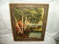 ANTIQUE PASTORAL COWS PRINT STREAM TREES INCREDIBLE COLOR PERIOD FRAME 1900s