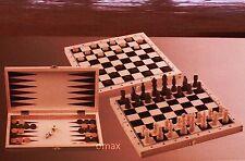 Schach Dame Backgammon inkl. Spielfiguren Holz Spielbrett Neu OVP
