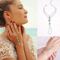 Multi Tassel Finger Ring Celebrity Chain Bracelet Bangle Slave Hand Harness Gold