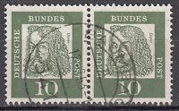 BRD 1961 Mi. Nr. 350 Fl. Papier Waagerechtes Paar Gestempelt (18150)