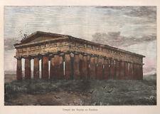 1884 Paestum (Salerno) xilografia acquarellata