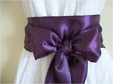 "3.5x60"" AUBERGINE PURPLE SATIN SASH BELT SELF TIE BOW FOR PARTY PROM DRESS"