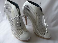 Brand New Pollini White Leather & Mesh Heeled Boots (Shoes) Size 37.5 (UK 4.5)