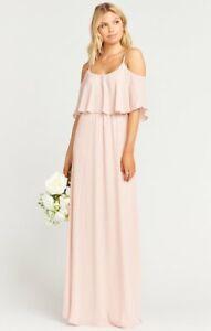 Show Me Your MuMu Caitlin Ruffle Maxi Dress Size Large Dusty Blush Crisp Pink