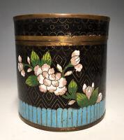 Antique Chinese Cloisonné Black Enamel Canister Jar Box Cloisonne 20th C.