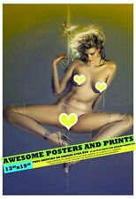 "HAJIME SORAYAMA - PIERCED IN GOLD. EROTIC ART LARGE REPRINT 13""x19"""